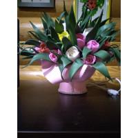 """Cветодиодный светильник-ночник НББ Букет """"Тюльпаны в зелени"""" розовые Е27, max 4Вт LED"""