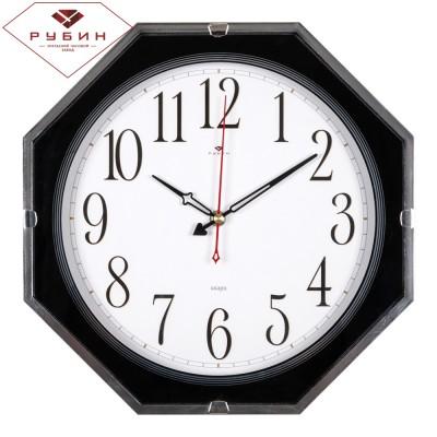 """3333-003B Часы настенные восьмигранник 33х33см, корпус черный кант зеркальный """"Классика"""""""