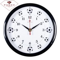 """2222-110 Часы настенные круг d=22см, корпус черный """"Футболисту"""""""
