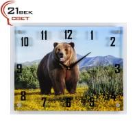 """3545-1141 Часы настенные """"Медведь на цветущем поле в горах"""""""