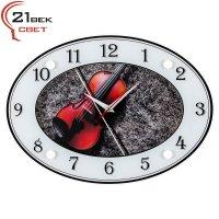 Часы настенные с белым кантом  Скрипка 3424-790W