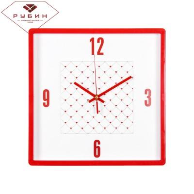 "Часы настенные квадрат  ""Сердечки"" 3028-124R"