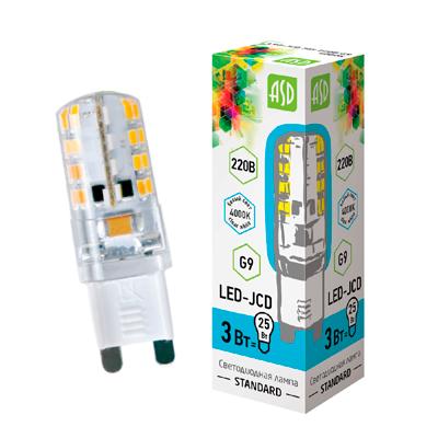 Светодиодная лампа G9 LED-JCD 3 Вт 220V 4000К ASD