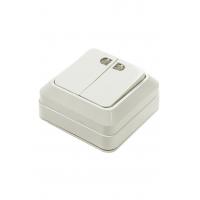 7123-W Выключатель 2кл с подсветкой BOLLETO белый ASD