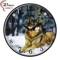 """Часы настенные """"Волк на снегу"""" 3030-1111"""